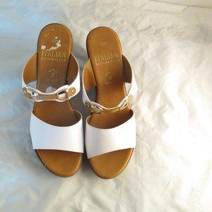 Italian shoemaker White & gold sandal wedges 10
